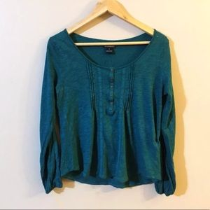 Lucky Brand Scoopneck Lace Trimmed Blouse Top FLAW